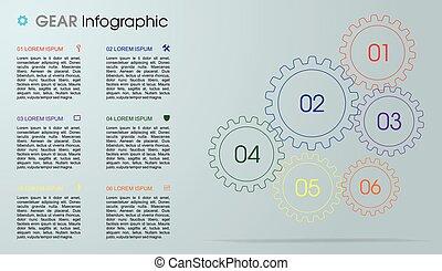 web, gebraucht, ausrüstung, bunte, sein, modern, grau, workflow, layout., hintergrund., vektor, broschüre, schablone, infographics, darstellungen, optionen, design, buechse