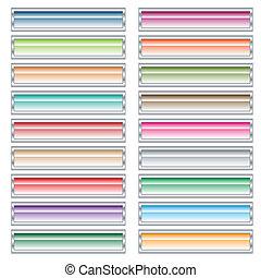 Web-Knöpfe in Pastellfarben.