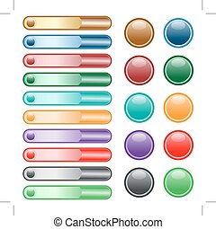 Web-Knöpfe in verschiedenen Farben