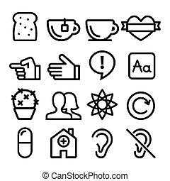 Web-Linien-Icons, Website Navigation flach Design Icon Sammlung - Benutzer, Blog, speichern.