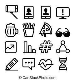 Web-Linien-Icons, Website-Navigations-Flachbild-Icon-Sammlung - Technologie, Selbstie, Lebensmittel, medizinische Designs.