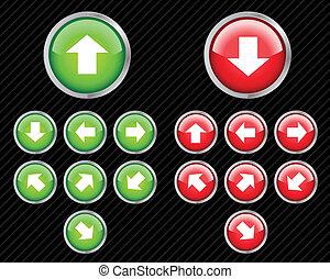 web, richtung, satz, aqua, bearbeiten, irgendein, tasten, vektor, leicht, arrows., size., 2.0, style.