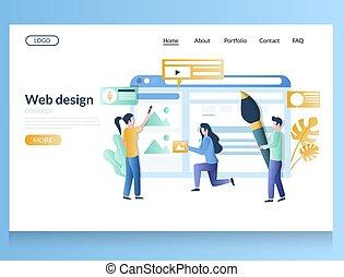 web, schablone, landung, seite, vektor, website, design