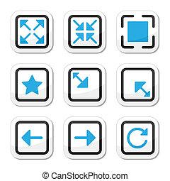 Web-Seite-Größe-Ikonen-Set