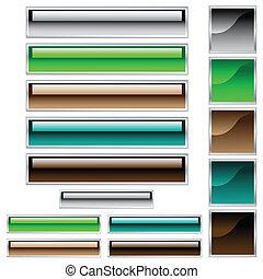 Webknöpfe, glänzende Rechtecke und Quadrate in verschiedenen Farben