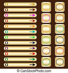 Webknöpfe, Gold mit verschiedenen farbigen Elementen