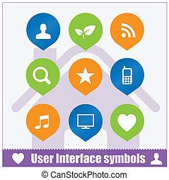 Webnutzer-Interface-Symbole aufgestellt