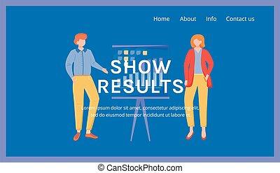 webpage, darstellung, template., seite, korporativ, karikatur, idee, weisen, firma, schnittstelle, begriff, wohnung, geschaeftswelt, website, organisation, vektor, illustrations., homepage, landung, results., layout., blaues