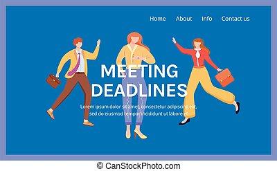 webpage, deadlines., template., seite, korporativ, karikatur, versammlung, idee, firma, schnittstelle, begriff, wohnung, geschaeftswelt, website, organisation, vektor, illustrations., homepage, landung, layout., blaues