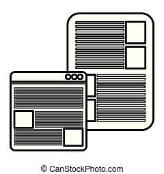Webpage Interface Vorlage mit Dokument.