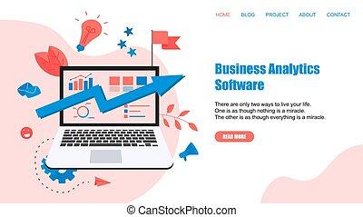 Webpage Template. Business Analytics Software Blue Arrow. Finanzkonzept.