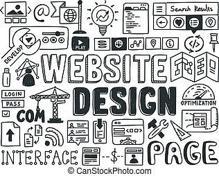 website, gekritzel, elemente, design