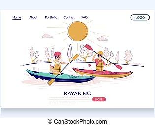 website, landung, kayaking, seite, design, vektor, schablone