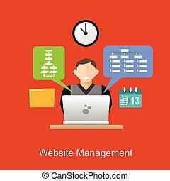 Website Management Illustration Konzept. Flat Design.
