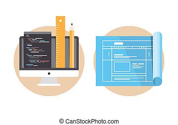 Website-Programmierung und Entwicklungs-Icons