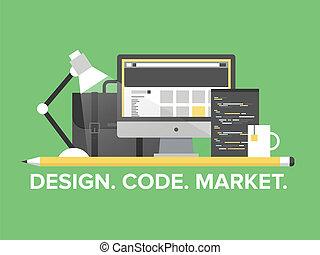Website-Programmierungsmanagement flache Illustration