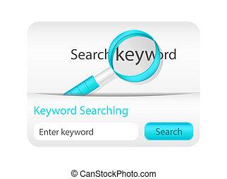 website, schlüsselwort, suchen, element, glas, vergrößern