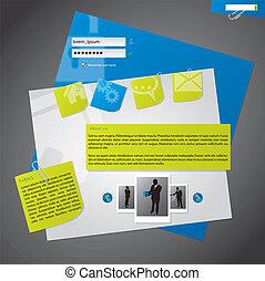 Website Template Design mit Briefpapier