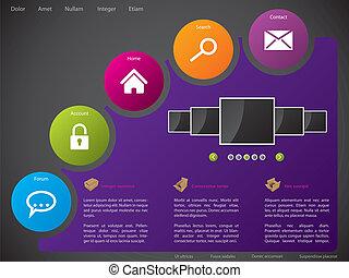 Website Template Design mit bunten Aufklebern