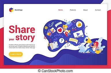 website, vektor, illustration., geschichte, landung, seite, karikatur, dein, anteil