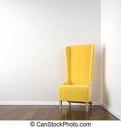 Weiße Ecke mit gelbem Stuhl