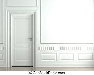 Weiße klassische Mauer mit Tür
