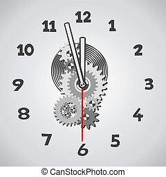 Weiße Uhr. Fünf Minuten vor zwölf