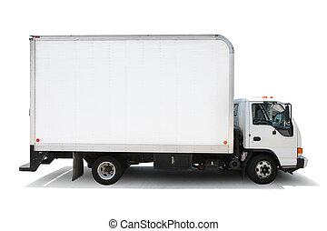 Weißer Lieferwagen, isoliert auf weißem Hintergrund, Ausschnitte inklusive.