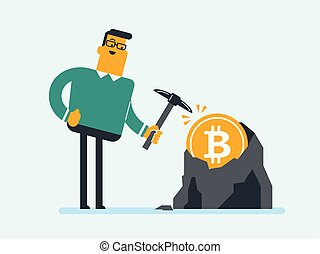 Weißer Mann mit Pickaxe, der in Bitcoin-Mine arbeitet