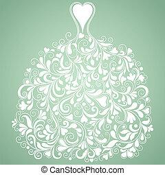 Weißes Hochzeitskleid, Vintage Vektorsilhouette.