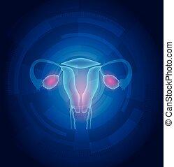Weibliche Uterus abstrakte blaue Technologie Hintergrund.