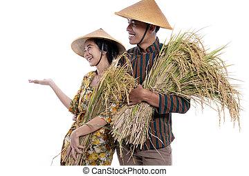 weiblicher asiat, tuch, landwirt, mann, traditionelle