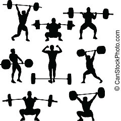 weightlifters, silhouetten