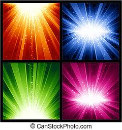 weihnachten, explosionen, festlicher, sternen, licht, jahre, neu
