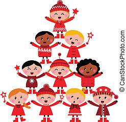 Weihnachten multikulturelle Kinder Tree isoliert auf weiß