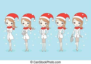 Weihnachts-Cartoon-Geschäftsfrau.