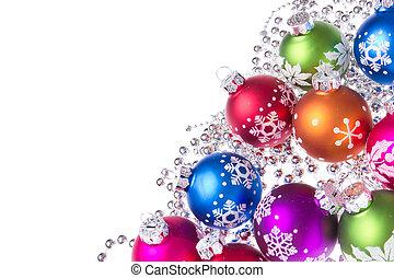 Weihnachtsbälle mit Schneeflockensymbolen.