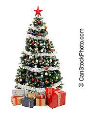 Weihnachtsbaum auf Weiß mit Geschenken