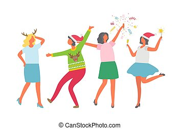 Weihnachtsfeier, fröhliche Leute tanzen, Spaß haben
