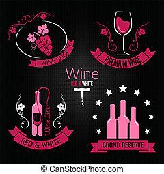 Weinglasflaschen-Etikettset.