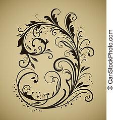 weinlese, freigestellt, element, hintergrund., design, beige, blumen-
