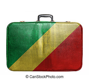weinlese, reisetasche, fahne, kongo, republik
