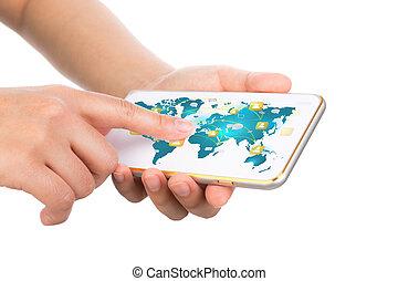 weisen, bewegliche kommunikation, modern, hand, telefon, t, besitz, technologie
