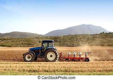 weizen, felder, getreide, landwirtschaft, pflügen, traktor