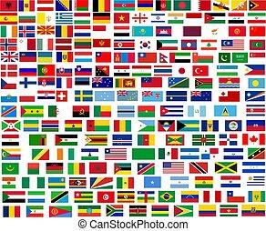 welt, alles, flaggen, länder
