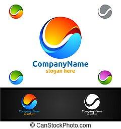 welt, kugelförmig, technologie, global, begriff, design, logo, modern