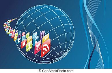 welt, telefon, apps, global, arround, heiligenbilder, beweglich