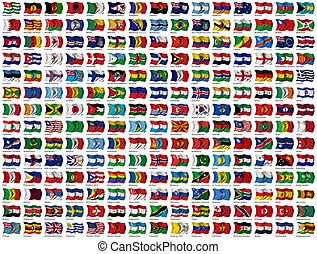 Weltflaggen aufgestellt