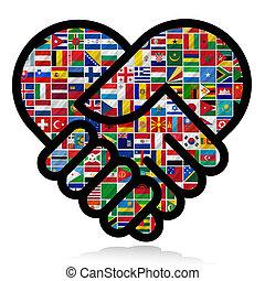 Weltflaggen mit Zusammenarbeit