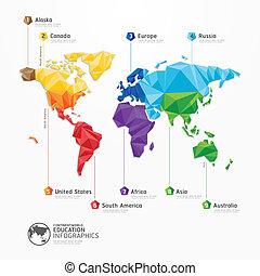 Weltkarte Illustration infographics geometrische Konzept Design Vektorvorlage.